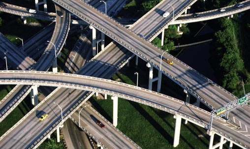 overhead view of a highway interchange